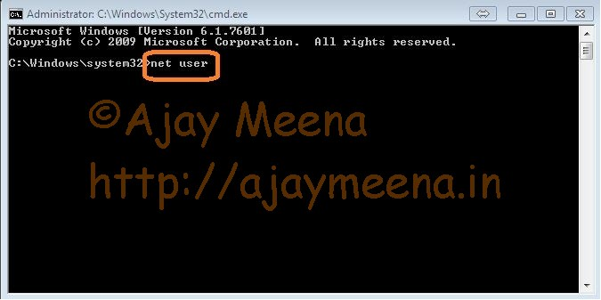 Changing Administrator Password using Command Prompt(CMD)_3